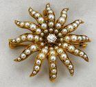 Starburst Necklace/Brooch – Diamond & Pearls in a Velvet Box