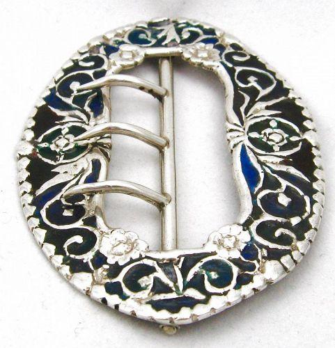 Plique a Jour Silver Sash Buckle – 1886 – Rare