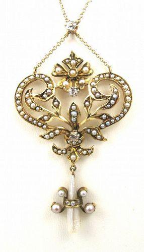 Lovely Art Nouveau Diamond Pearl Necklace