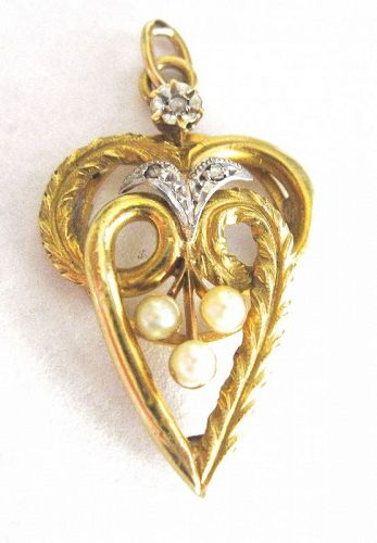 Diamond Pearl 18kt Gold Lavalier - French
