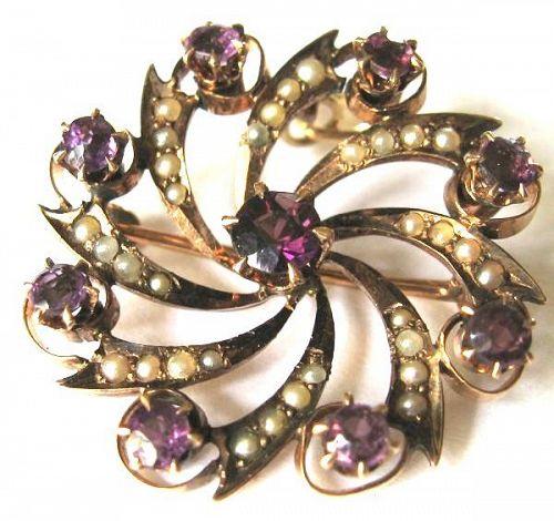 10kt Garnet & Pearl Pinwheel Necklace/Pin