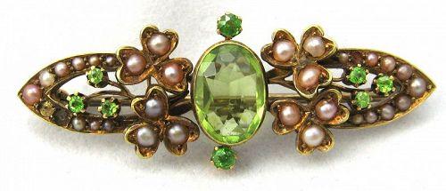 15kt Gold Peridot Pin with Demantoid (Green) Garnets