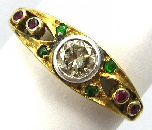 Diamond Ruby Green (Demantoid) Garnet Ring