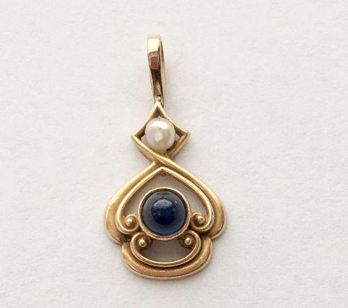 WHITESIDE & BLANK Sapphire Pearl Pendant