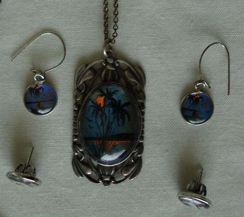 Vintage Butterfly Wing Necklace & Earrings
