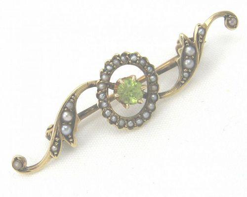 Peridot Seed Pearl 14kt Gold Brooch or Pin