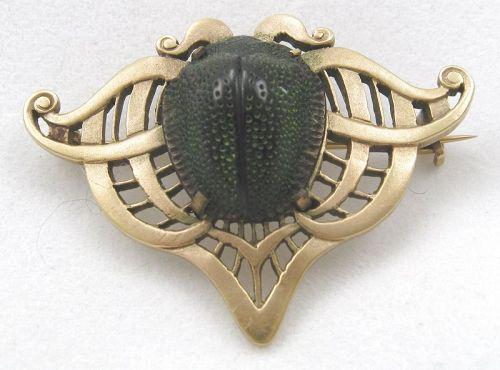 14kt Nouveau/Victorian Green Scarab Beetle Brooch