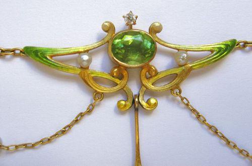 Peridot Enamel Swag Necklace – Book Piece
