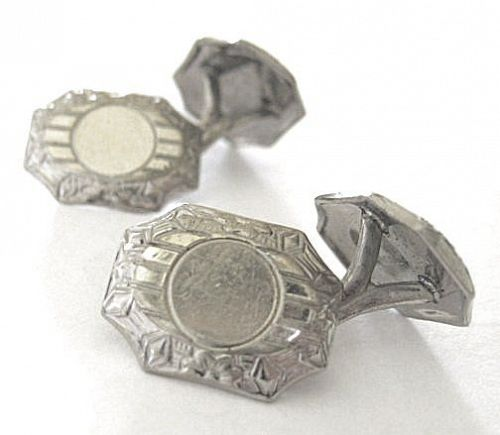 BELAIS White Gold-Fronted Cuff Links – Art Deco