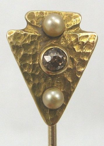 Cognac Diamond and Pearl Arrow Head Stick Pin
