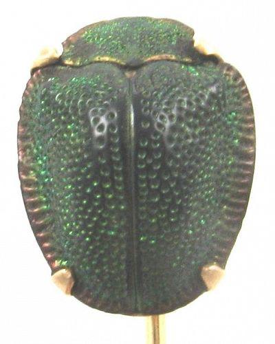 14k Rose Gold Stick pin - Real Green Beetle