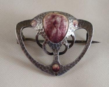 Arts & Crafts Silver Brooch with Enamel