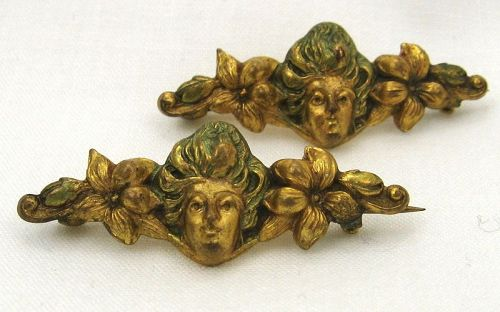 Gold-Toned Pins: Flowers and Ladies