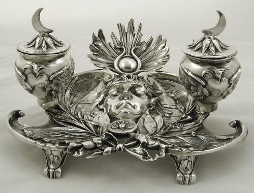 Egyptian Revival Silver Plate Inkwell - WMF