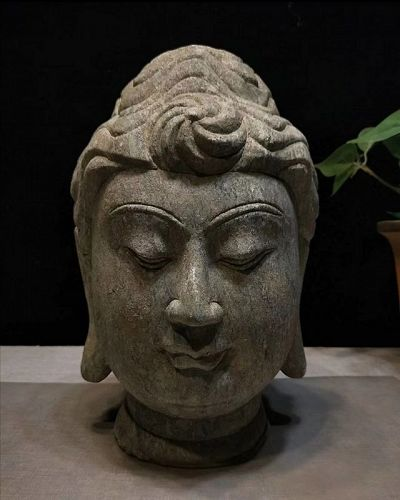 Antique Chinese Stone Carved Buddha Head