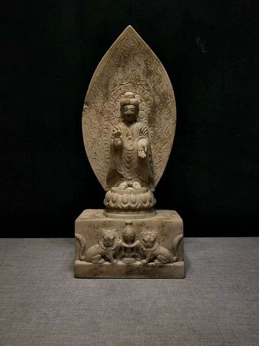 Antique Chinese Stone Carved Buddha Statue