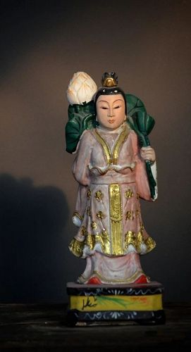 An Antique Chinese Gilt Painted Wood Carved Deity Statue