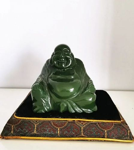 Fine Old Chinese Spinach Jade Carved Laughing Buddha