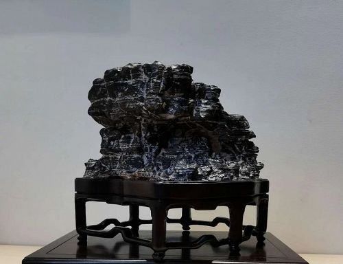 A Vintage Chinese Scholar Lingbi Stone Statue
