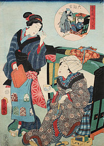 Japanese Edo Woodblock Print Kunisada Chushingura Act 6