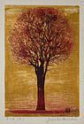 Japanese Woodblock Print Joichi Hoshi Gold Leaf Evening Tree Red