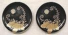 Two Edo Japanese Lacquer Wood Plates - Pawlonia & Mon