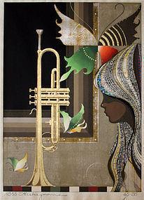 Japanese Ltd. Ed. Woodblock Print Tadashi Nakayama Butterflies Trumpet