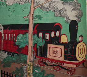 Japanese Woodblock Print Triptych Ueno Train Kunitoshi