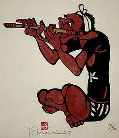 Japanese Ltd. Ed. Kappa-ban Stencil Print Yoshitoshi Mori Fue Flute