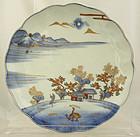 "9.5"" Japanese Meiji Arita Imari Porcelain Plate Dish Sansui Fuku Mark"