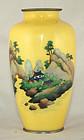 "7""H Japanese Showa Cloisonne Vase Yellow Landscape"