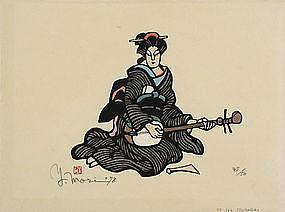 Japanese Kappa-ban Stencil Print Yoshitoshi Mori Tsumabiki Shamisen