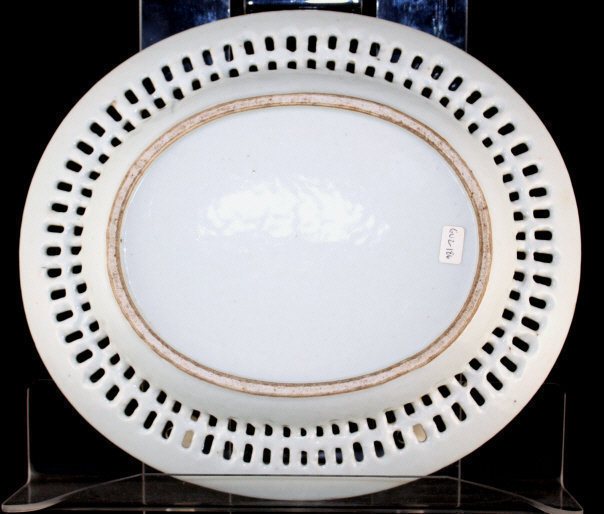 Chinese Qing Export Porcelain Reticulated Monochrome Chestnut Bowl