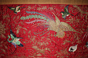 Massive 20' Chinese Qing Silk Embroidered Room Banner