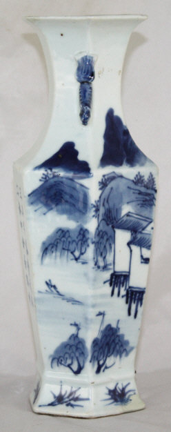 """10""""H Chinese Qing Canton Export Porcelain Faceted Vase"""