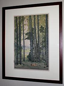 Japanese Woodblock Print Hiroshi Yoshida Bamboo Wood