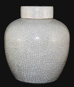 Chinese Qing Guangxu Geyao Type Porcelain Lidded Jar