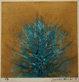 Japanese Woodblock Print Joichi Hoshi Blue Tree on Gold