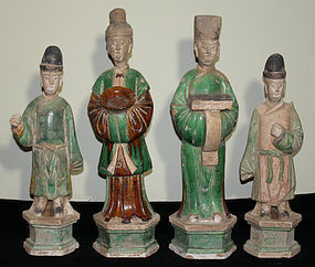 Four Chinese Ming Dynasty Pottery Tomb Funerary Attendant Figures