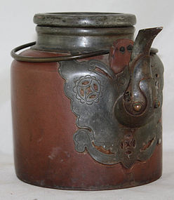 Chinese Republic Yixing Zisha Pottery & Pewter Teapot
