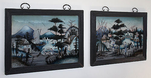 Two Chinese Qing Reverse Glass Figural Landscape Framed Paintings