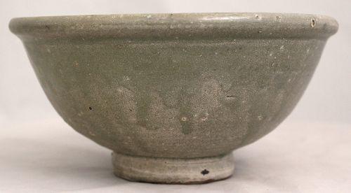 "7"" Dia. Chinese Yuan Ming Longquan Celadon Floral Stoneware Bowl"