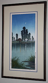 Japanese Woodblock Print Kawase Hasui Evening at Itako