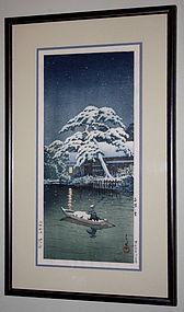 Japanese Woodblock Print Kawase Hasui Snow at Funabori