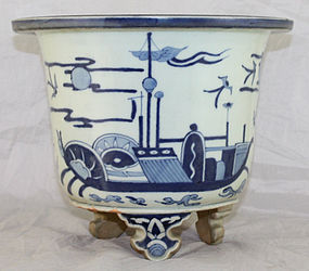 Chinese Qing Qianlong Blue & White Porcelain Planter Jardiniere