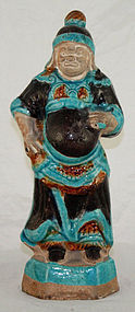 "9""H Chinese Ming Dynasty Fahua Glazed Warrior Figure"