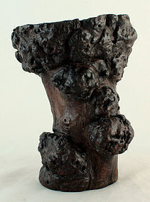 Chinese Qing Burlwood Scholar's Natural Root Form Brushpot Bitong
