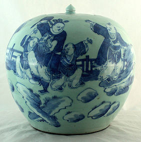 Chinese Qing Blue White Celadon Porcelain Lidded Ginger Jar Figures