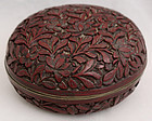 Chinese Late Qing Dynasty Cinnabar Lacquer Seal Paste Incense Box