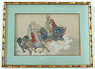 Chinese Qing Buddhist Lohan Watercolor Painting Silk